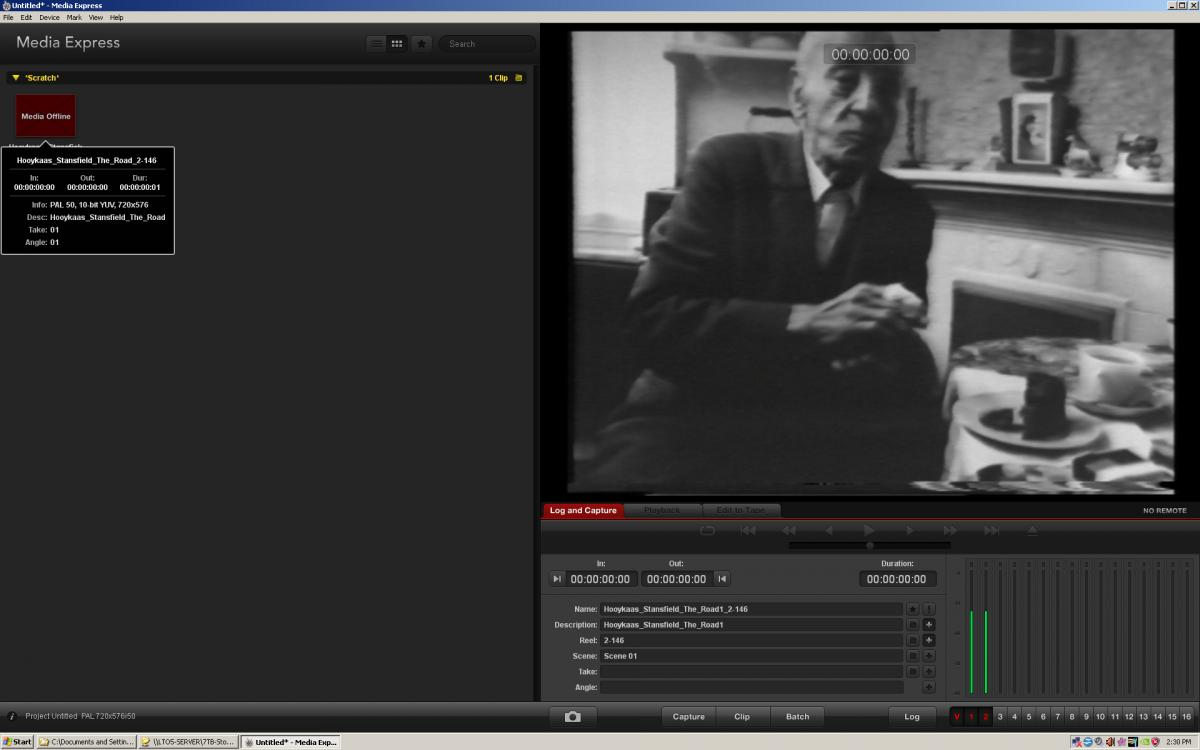 A screen shot of LIMA's capture software, Black Magic's Media Express, in the process of capturing the H/S work 'The Road', from 1976, from BetaSP to 10-bit Uncompressed AVI. Picture: LIMA.