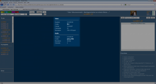 Screenshot of the DVA-Profession system.