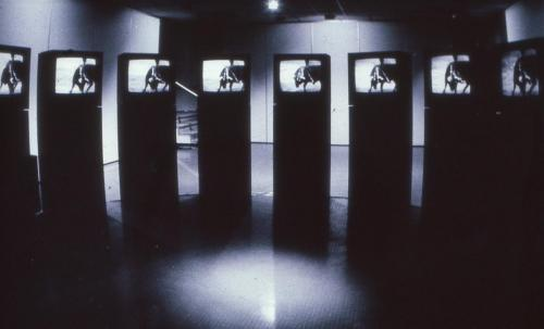 Exhibition view of 'A las cinco de la tarde' at Octobre des Arts, L'E.L.A.C. Lyon, 1984. Picture: Marie-Jo Lafontaine.