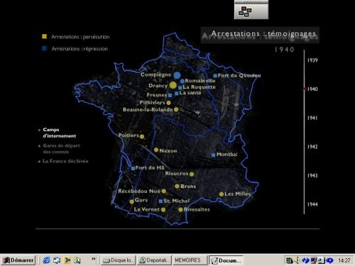 Screenshot of the CD-Rom 'Mémoires de la déportation' (1994-1997). Credits : chatonsky.net