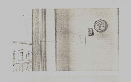 Afbeelding 4. Het filmblik met de audiocassette en de tekst aan de muur (zie voetnoot).