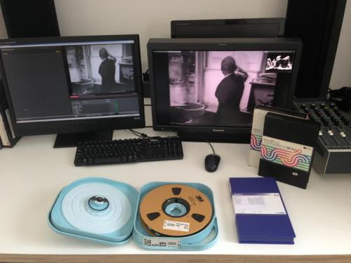 "The preservation of Hooykaas and Stansfield's work involves working with various analogue and digital tape formats. Seen here are 1"" Type-C 'open reel', U-matic, and Digibeta examples."