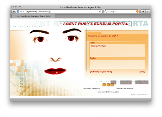Screenshot of Lynn Hershman Leeson's web-based work Agent Ruby.