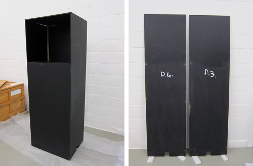 """Parts of the pedestals used for the """"Initiatief '86"""" exhibition. Picture:S.M.A.K."""